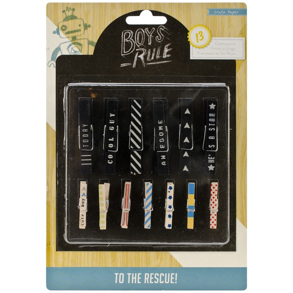 Boys Rule Printed Clothespins 13/Pkg