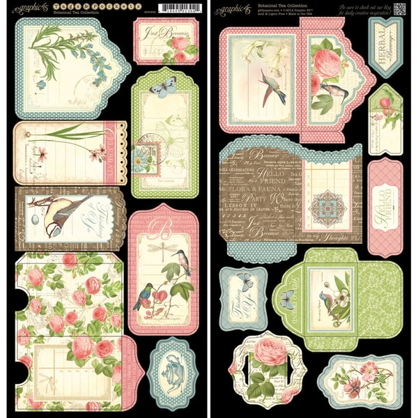 "Botanical Tea Cardstock Die-Cuts 6""X12"" Sheets 2/Pkg-Tags & Pockets"