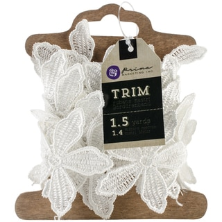 Trim 1.5 Yards/Pkg-White 5-Petal Flower