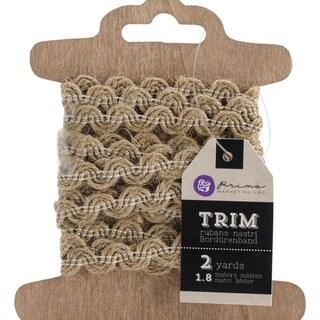Trim 3-Card Assortment 2 Yards Each-Burlap Ric Rac, Stitched Burlap, White