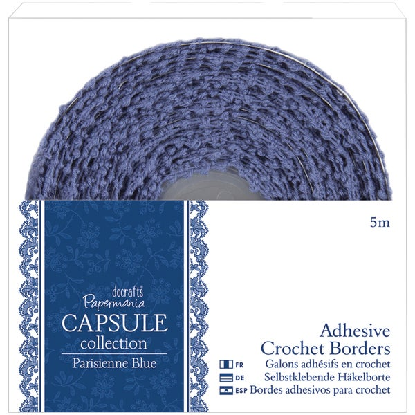 Papermania Parisienne Blue Adhesive Crochet Border-5m
