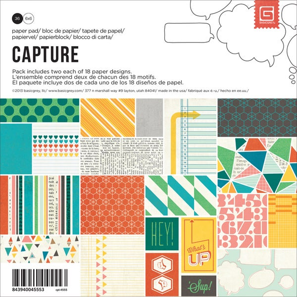 "Capture Paper Pad 6""X6"" 36/Sheets-18 Single-Sided Designs/2 Each"