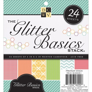 """Paper Stack Glitter Cardstock 6""""X6"""" 24/Sheets-Basic Prints, 12 Designs/2 Each"""