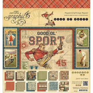 "Good Ol' Sport Double-Sided Paper Pad 8""X8""-24 Sheets -12 Designs, 2ea"