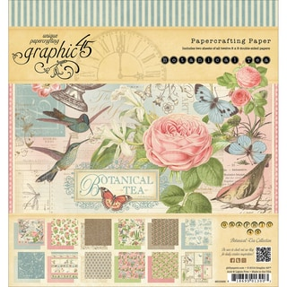 "Botanical Tea Double-Sided Paper Pad 8""X8""-24 Sheets -12 Designs, 2ea"