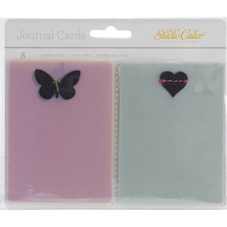 "Lemonlush Vellum Journal Cards 3""X4"" 8/Pkg-W/Stitched Die-Cut Shapes"