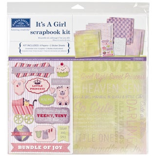 It's A Girl Scrapbook Page Kit 12inX12in