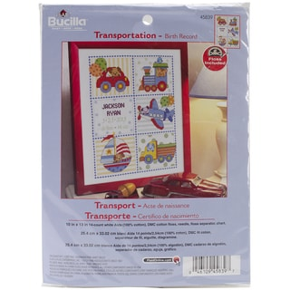 "Transportation Birth Record Counted Cross Stitch Kit-10""X13"" 14 Count"
