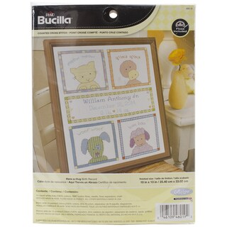 "Here-A-Hug Birth Record Counted Cross Stitch Kit-10""X13"" 14 Count"