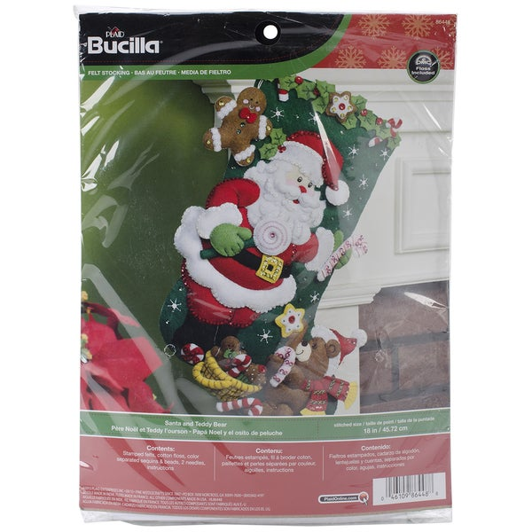 "Santa & Teddy Bear Stocking Felt Applique Kit-18"" Long"