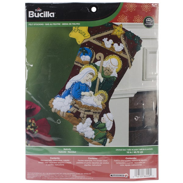 "Nativity Stocking Felt Applique Kit-18"" Long"