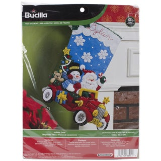 "Holiday Drive Stocking Felt Applique Kit-18"" Long"
