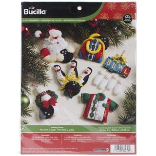 """Bowling Santa Ornaments Felt Applique Kit-3-1/2""""X4"""" Set Of 6"""