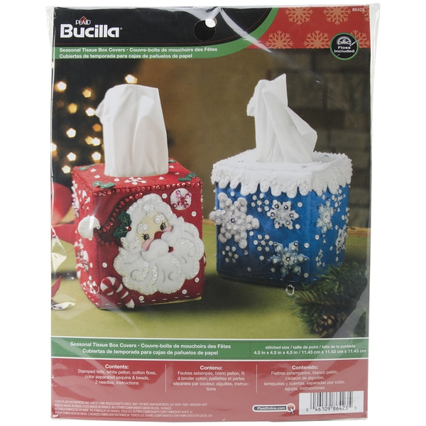 "Seasonal Tissue Box Covers Felt Applique Kit-4-1/2""X4-1/2"" Set Of 2"