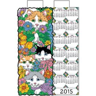 """Cat's In The Garden 2015 Jeweled Felt Calendar Kit-16""""X24"""""""
