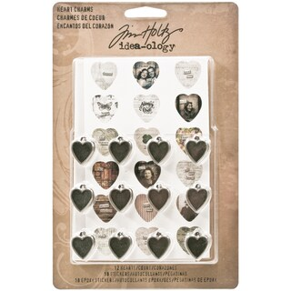 "Idea-ology Heart Charms .5""X.75"" 12/Pkg-With Cardstock & Epoxy Stickers/18 Each"
