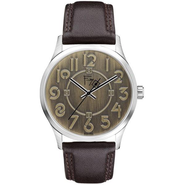 Bulova Men's 'Frank Lloyd Wright Exhibition' Brown Leather Watch