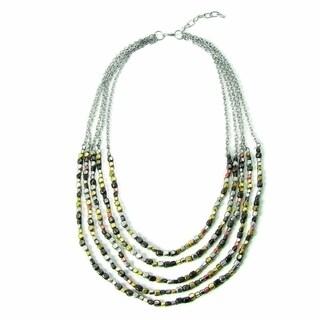 Handmade Ombre Metallic Tiered Necklace (India)