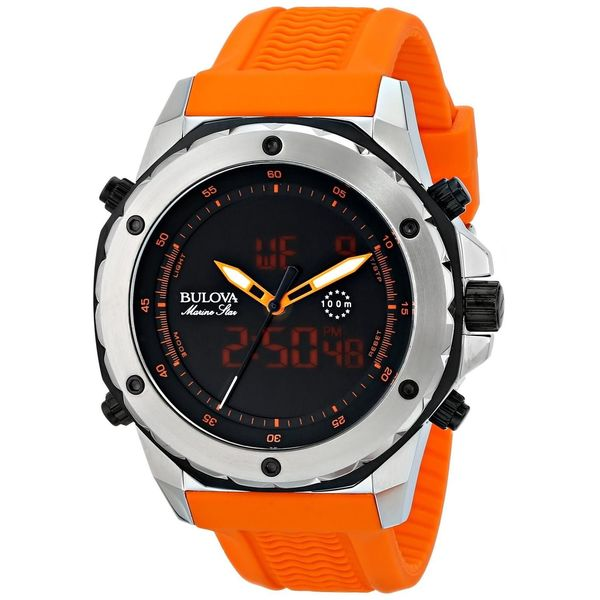Bulova Men's Marine Star 98C118 Bright Orange Silicone Quartz Watch