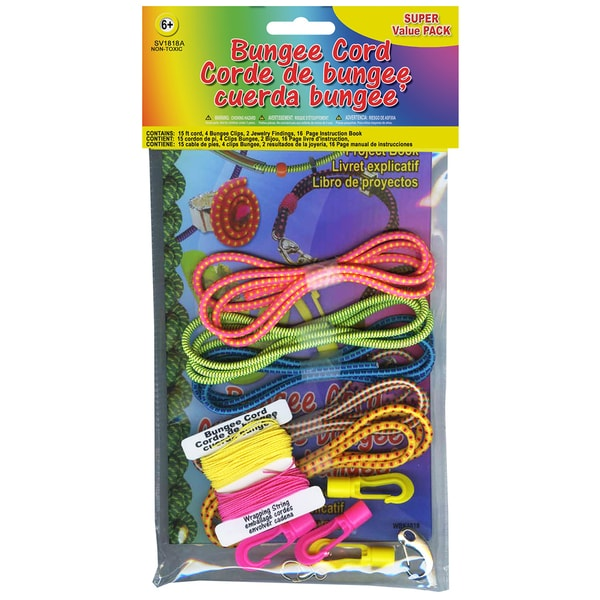 Bungee Cord Super Value Pack 5 Colors/Pkg 15' Total-Assorted Neons