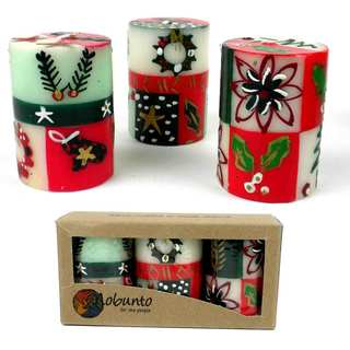 Set of Three Boxed Hand Painted Candles - Ukhisimui Design (South Africa)