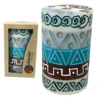 Single Boxed Hand Painted Pillar Candle - Maji Design (South Africa)