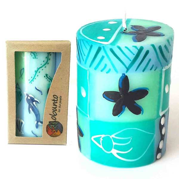 Single Boxed Hand Painted Pillar Candle - Samaki Design (South Africa)