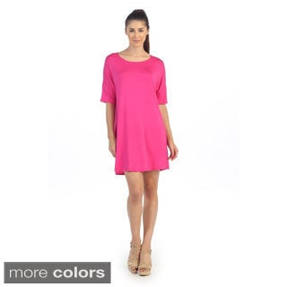 Women's Solid Half-sleeve T-shirt Dress