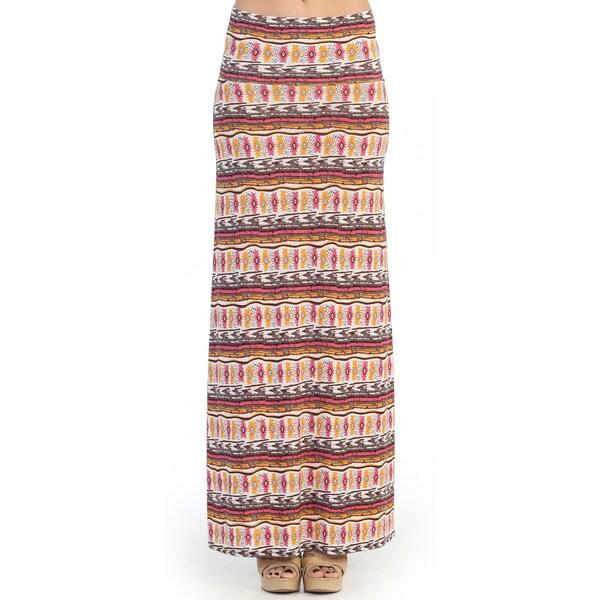 Hadari Women's Colorful Tribal Print Maxi Skirt