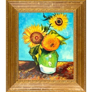 Vincent Van Gogh 'Sunflowers, First Version' Hand Painted Framed Canvas Art