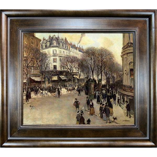 Jean-Francois Raffaelli 'Boulevard des Italiens' Hand Painted Framed Canvas Art