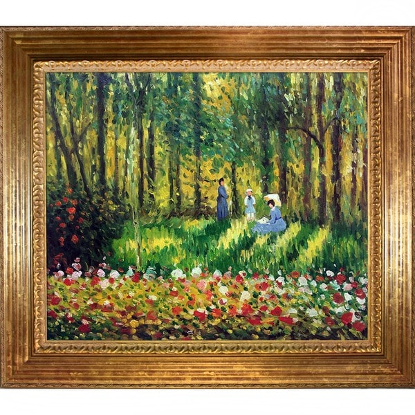 Claude Monet 'La Famille D'artiste' Hand Painted Framed Canvas Art