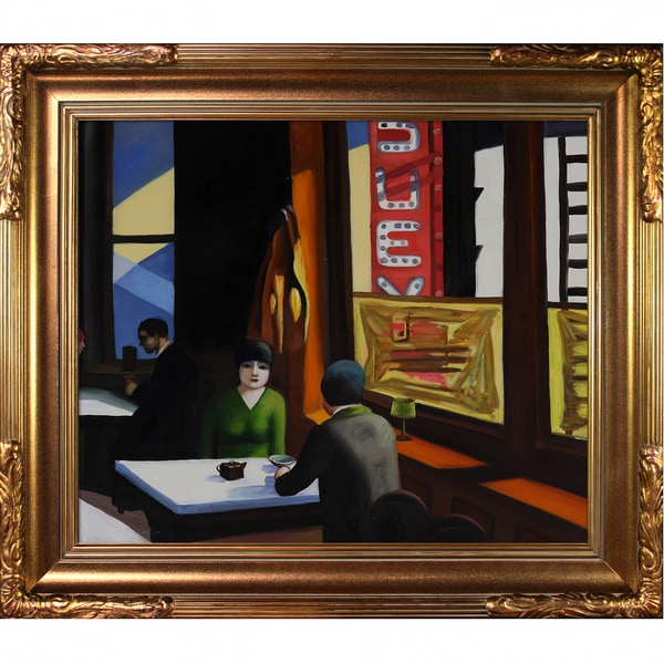 Edward Hopper 'Chop Suey' Hand Painted Framed Canvas Art