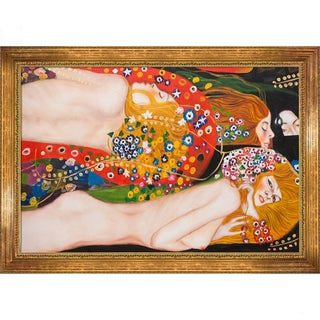 Gustav Klimt 'Water Serpents II (detail)' Hand Painted Framed Canvas Art