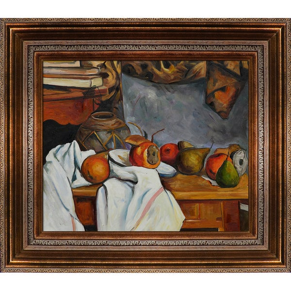 Paul Cezanne 'Ginger Pot with Pomegranate and Pears' Hand Painted Framed Canvas Art
