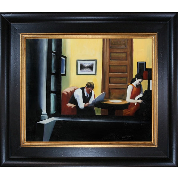 Edward Hopper 'Room in New York' Hand Painted Framed Canvas Art