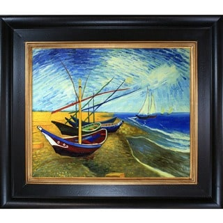 Vincent Van Gogh 'Fishing Boats on the Beach at Saintes-Maries' Hand Painted Framed Canvas Art