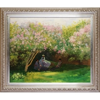 Claude Monet 'Resting Under the Lilacs' Hand Painted Framed Canvas Art
