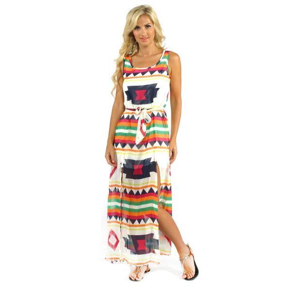Trendology Women's Fuchsia Multi-print Double Slit Maxi Dress