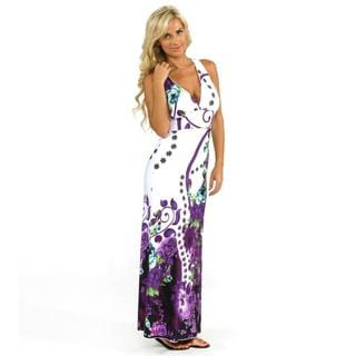 IB Diffusion Women's White Floral Print Maxi Dress
