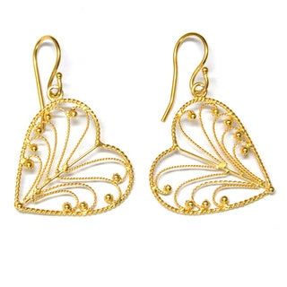 Gold Vermeil Sterling Silver Leaf Heart Dangle Earrings