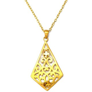 Gold Vermiel Filigree Peridot Necklace