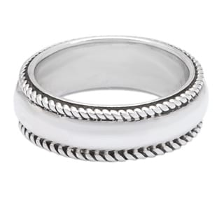 .925 Sterling Silver Braided Outer Band Ring