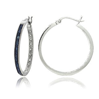 DB Designs Silvertone Blue Diamond Accent 30mm Hoop Earrings