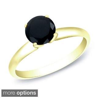 Auriya 14k Gold 1ct TDW Round Black Diamond Solitaire Ring