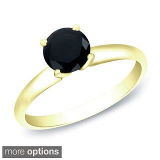 Auriya 14k Gold 3/4ct TDW Round Black Diamond Solitaire Ring