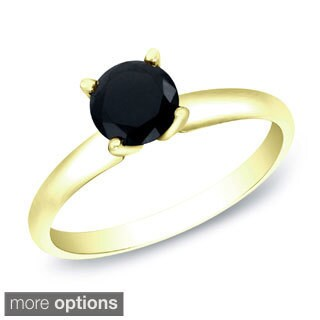 Auriya 14k Gold 1/2ct TDW Round Black Diamond Solitaire Ring