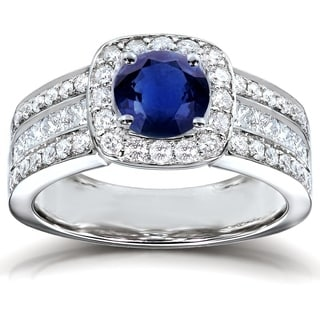 Annello 14k White Gold Round Blue Sapphire and 1ct TDW Diamond Multi-row Engagement Ring (H-I, I1-I2)