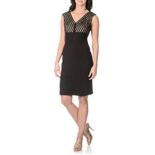 London Times Women's Black Sleveless Textured Dress