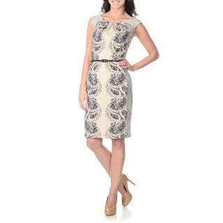 London Times Women's Taupe Paisley Print Dress